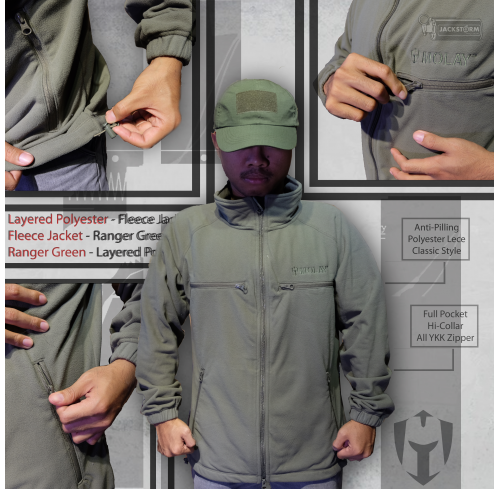 Molay Layered Polyester Fleece Jacket (Ranger Green)